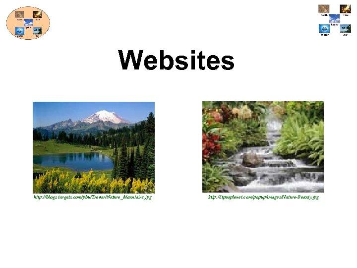 Websites http: //blogs. targetx. com/pbu/Trevor/Nature_Mountains. jpg http: //itpeoplenet. com/popup/images/Nature-Beauty. jpg