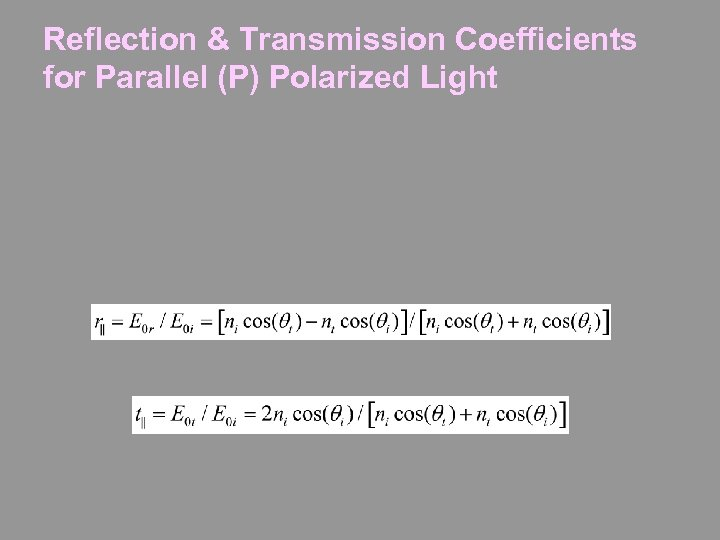 Reflection & Transmission Coefficients for Parallel (P) Polarized Light
