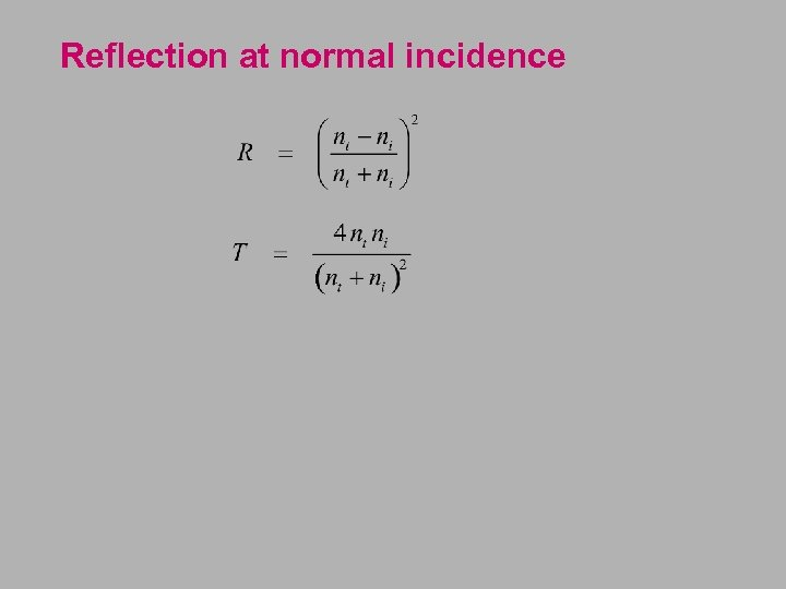 Reflection at normal incidence