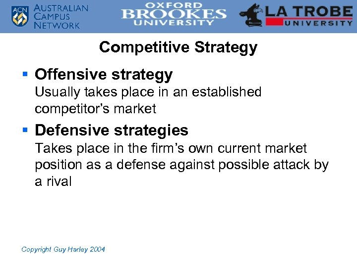 Competitive Strategy § Offensive strategy Usually takes place in an established competitor's market §
