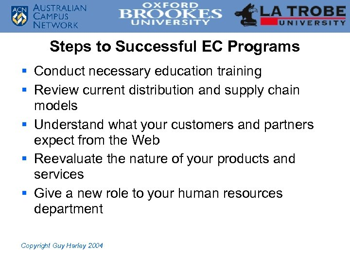 Steps to Successful EC Programs § Conduct necessary education training § Review current distribution