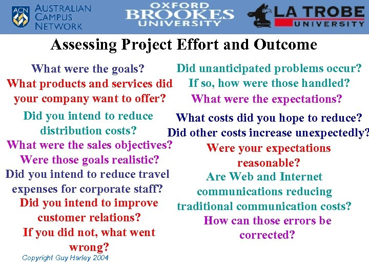 Assessing Project Effort and Outcome Did unanticipated problems occur? What were the goals? What