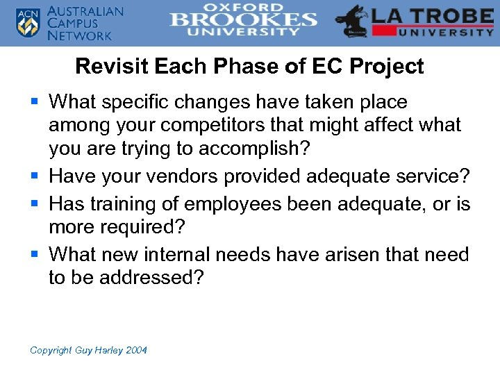 Revisit Each Phase of EC Project § What specific changes have taken place among
