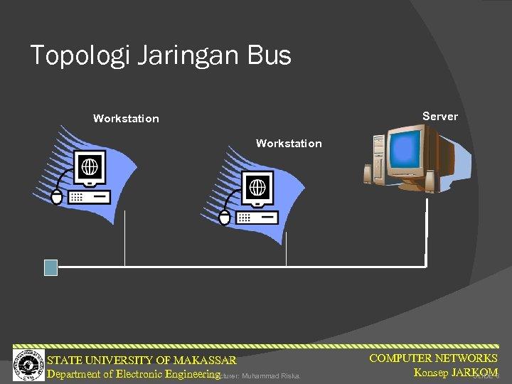 Topologi Jaringan Bus Server Workstation STATE UNIVERSITY OF MAKASSAR Department of Electronic Engineering Lecturer: