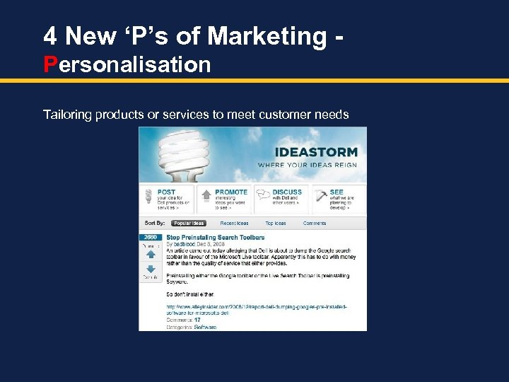 4 New 'P's of Marketing Personalisation Tailoring products or services to meet customer needs