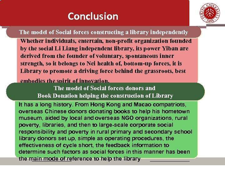 Conclusion The model of Social forces constructing a library independently Whether individuals, entertain, non-profit