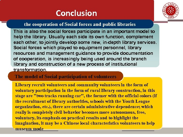 Conclusion the cooperation of Social forces and public libraries This is also the social