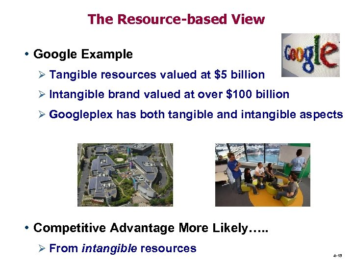 The Resource-based View • Google Example Ø Tangible resources valued at $5 billion Ø