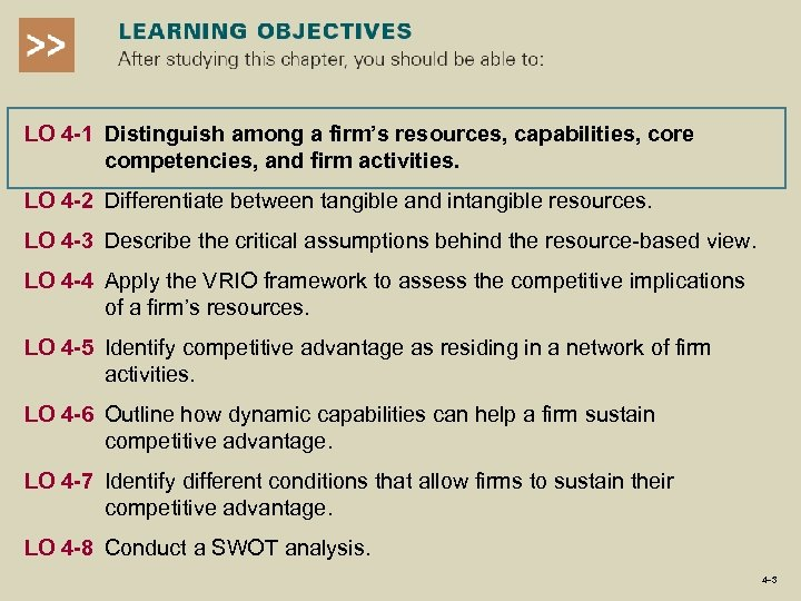 LO 4 -1 Distinguish among a firm's resources, capabilities, core competencies, and firm activities.