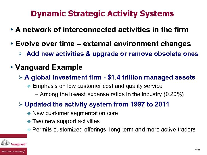 Dynamic Strategic Activity Systems • A network of interconnected activities in the firm •