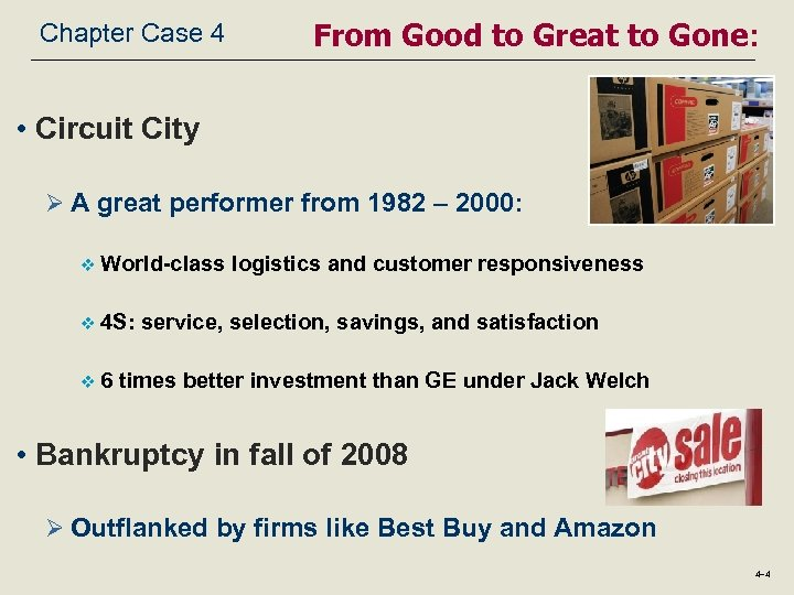 Chapter Case 4 From Good to Great to Gone: • Circuit City Ø A