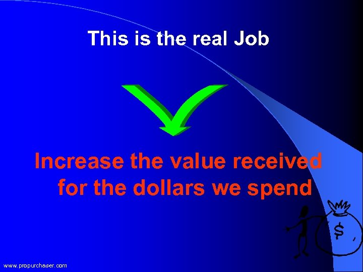 This is the real Job Increase the value received for the dollars we spend