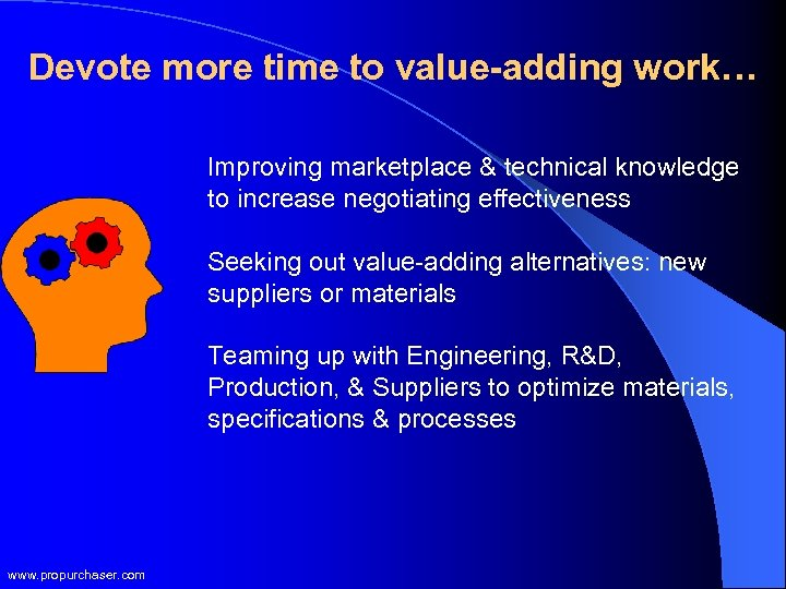 Devote more time to value-adding work… Improving marketplace & technical knowledge to increase negotiating