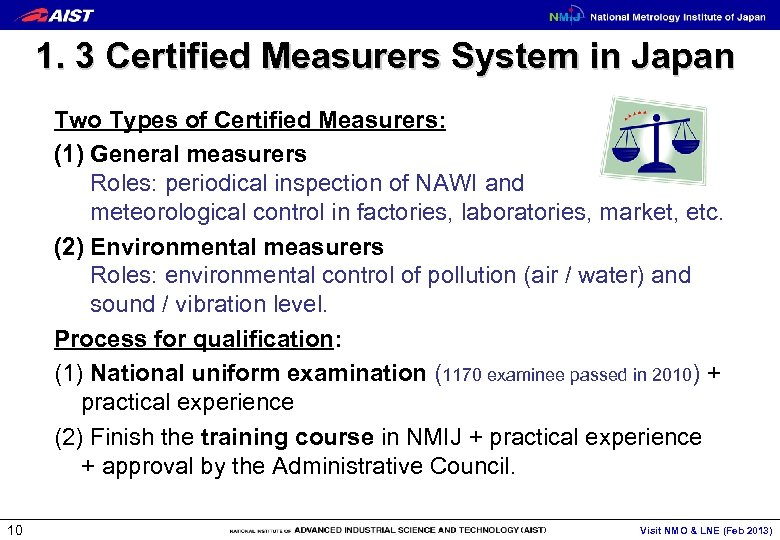 1. 3 Certified Measurers System in Japan Two Types of Certified Measurers: (1) General
