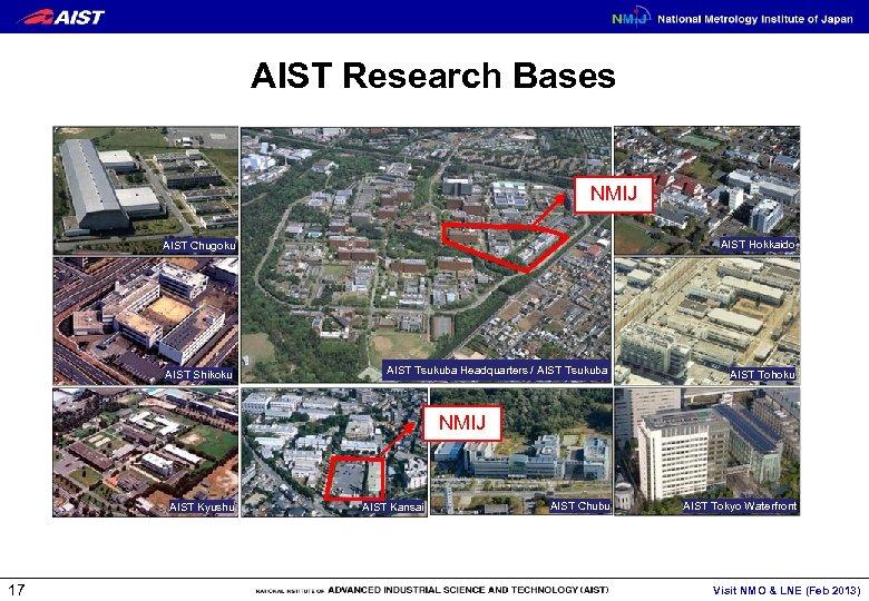 AIST Research Bases NMIJ AIST Hokkaido AIST Chugoku AIST Shikoku AIST Tsukuba Headquarters /
