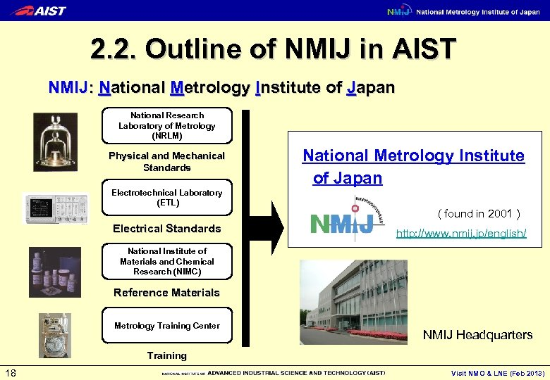 2. 2. Outline of NMIJ in AIST NMIJ: National Metrology Institute of Japan National