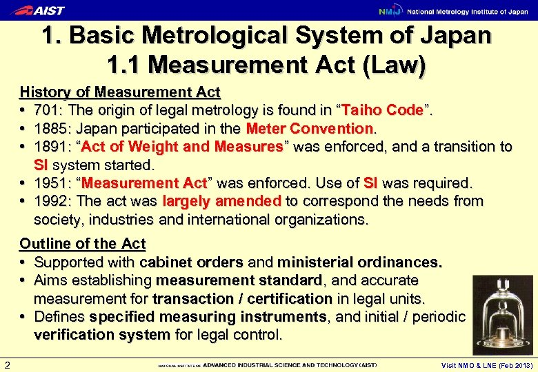 1. Basic Metrological System of Japan 1. 1 Measurement Act (Law) History of Measurement