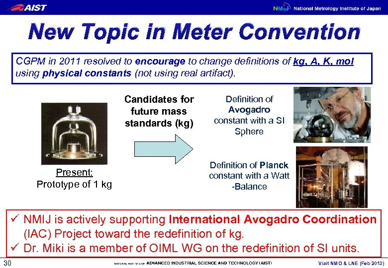 New Topic in Meter Convention CGPM in 2011 resolved to encourage to change definitions