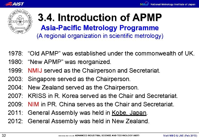 3. 4. Introduction of APMP Asia-Pacific Metrology Programme (A regional organization in scientific metrology)