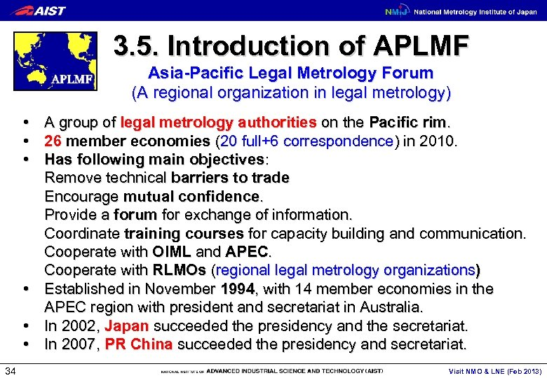 3. 5. Introduction of APLMF Asia-Pacific Legal Metrology Forum (A regional organization in legal