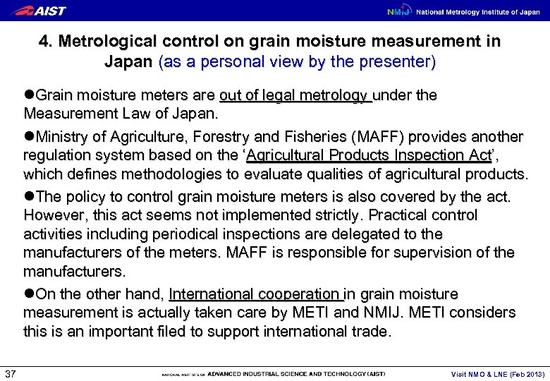 4. Metrological control on grain moisture measurement in Japan (as a personal view by