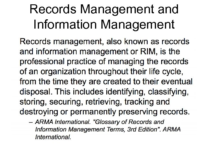 Records Management and Information Management