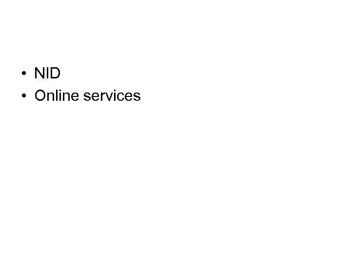 • NID • Online services