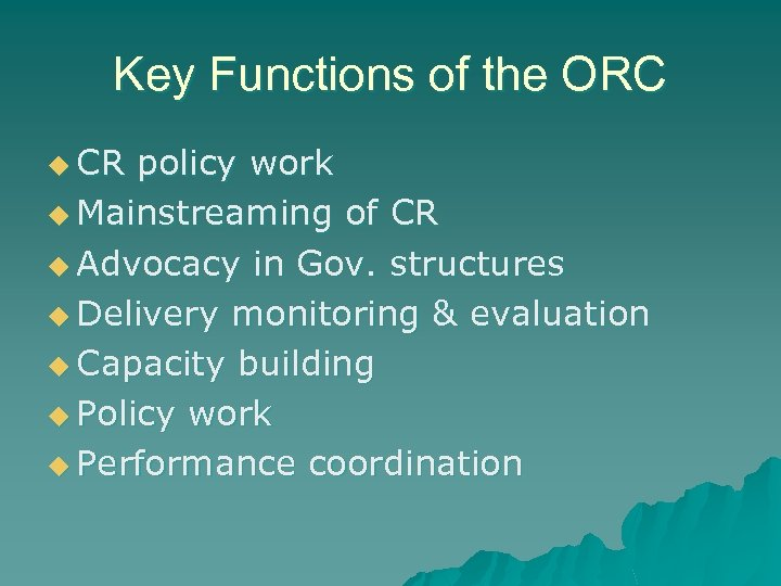 Key Functions of the ORC u CR policy work u Mainstreaming of CR u