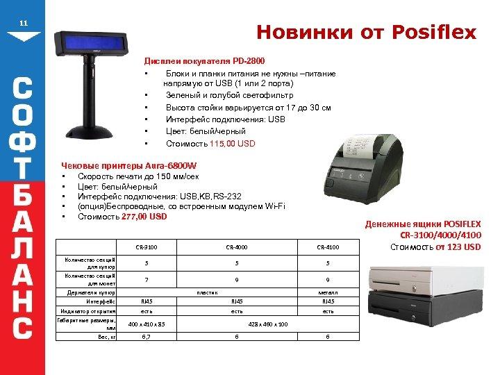 11 Новинки от Posiflex Дисплеи покупателя PD-2800 • Блоки и планки питания не нужны