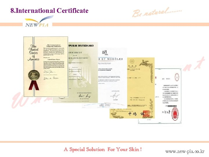 8. International Certificate at h W tural. . Be na en om w A