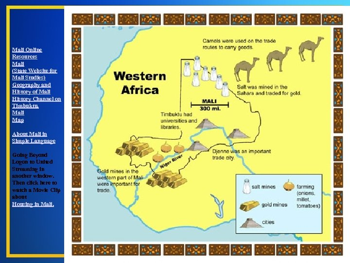 Mali Online Resources Mali (State Website for Mali Studies) Geography and History of Mali