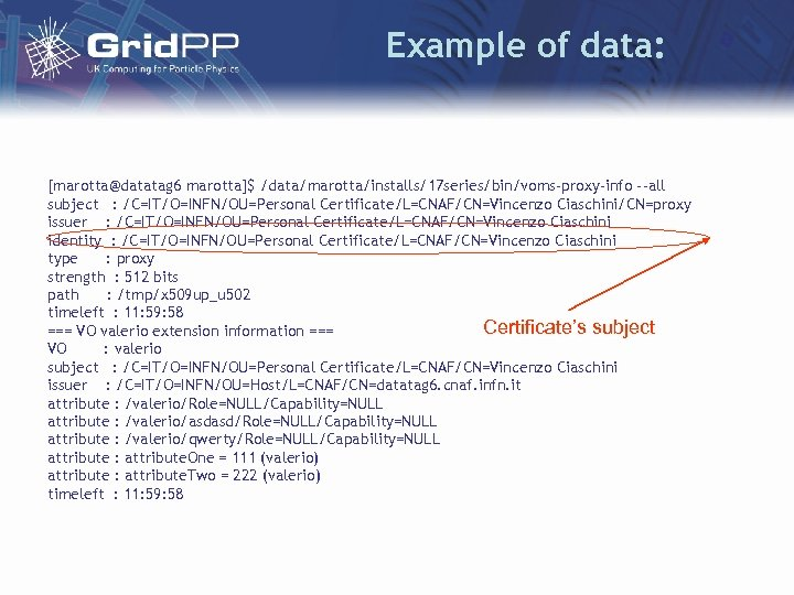 Example of data: [marotta@datatag 6 marotta]$ /data/marotta/installs/17 series/bin/voms-proxy-info --all subject : /C=IT/O=INFN/OU=Personal Certificate/L=CNAF/CN=Vincenzo Ciaschini/CN=proxy