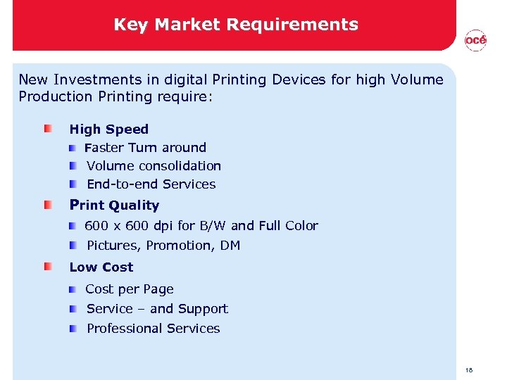 Key Market Requirements New Investments in digital Printing Devices for high Volume Production Printing