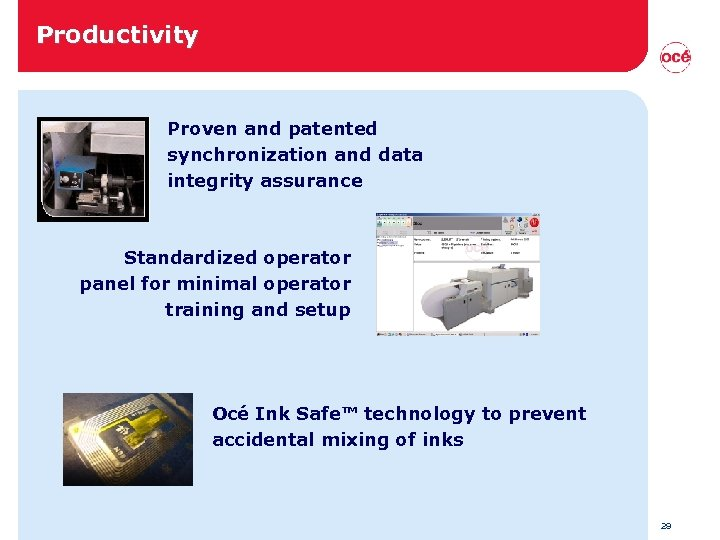 Productivity Proven and patented synchronization and data integrity assurance Standardized operator panel for minimal