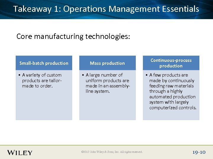 Takeaway Title Text Here Place Slide 1: Operations Management Essentials Core manufacturing technologies: Small-batch