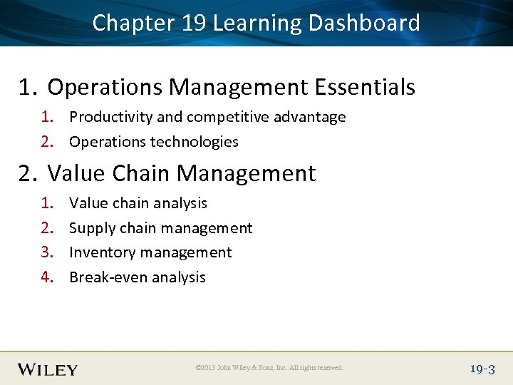 Place Slide Title 19 Learning Dashboard Chapter Text Here 1. Operations Management Essentials 1.