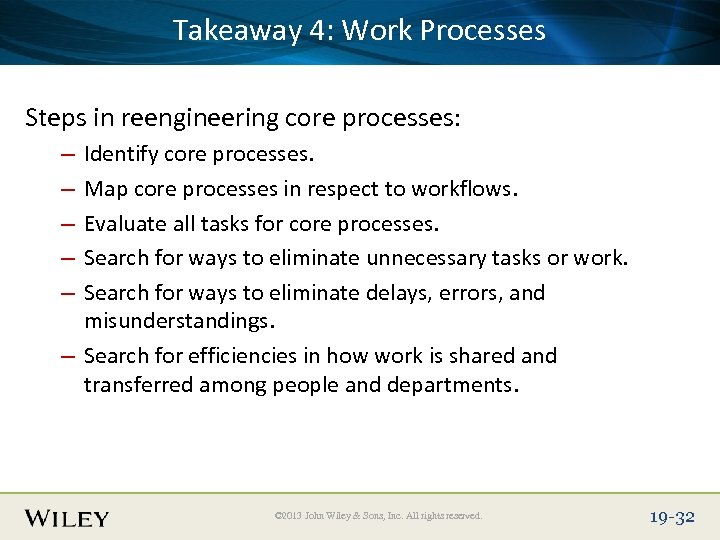 Takeaway 4: Work Place Slide Title Text Here Processes Steps in reengineering core processes: