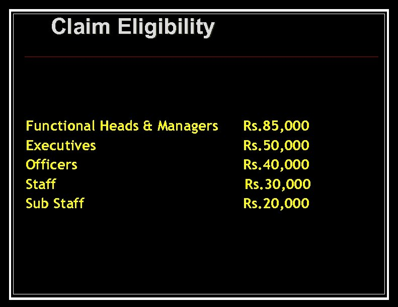Claim Eligibility Functional Heads & Managers Executives Officers Staff Sub Staff Rs. 85, 000