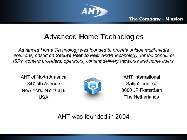 The Company - Mission Advanced Home Technologies Advanced Home Technology was founded to provide