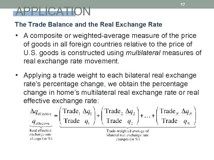 APPLICATION 17 The Trade Balance and the Real Exchange Rate • A composite or