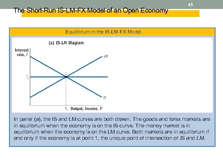 The Short-Run IS-LM-FX Model of an Open Economy 45 Equilibrium in the IS-LM-FX Model