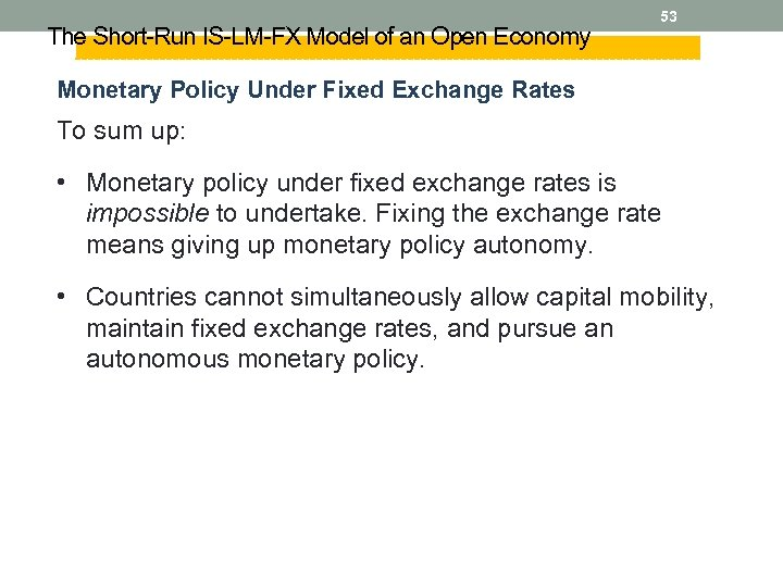 The Short-Run IS-LM-FX Model of an Open Economy 53 Monetary Policy Under Fixed Exchange