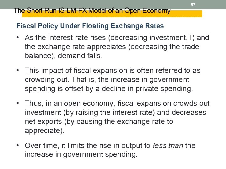 The Short-Run IS-LM-FX Model of an Open Economy 57 Fiscal Policy Under Floating Exchange