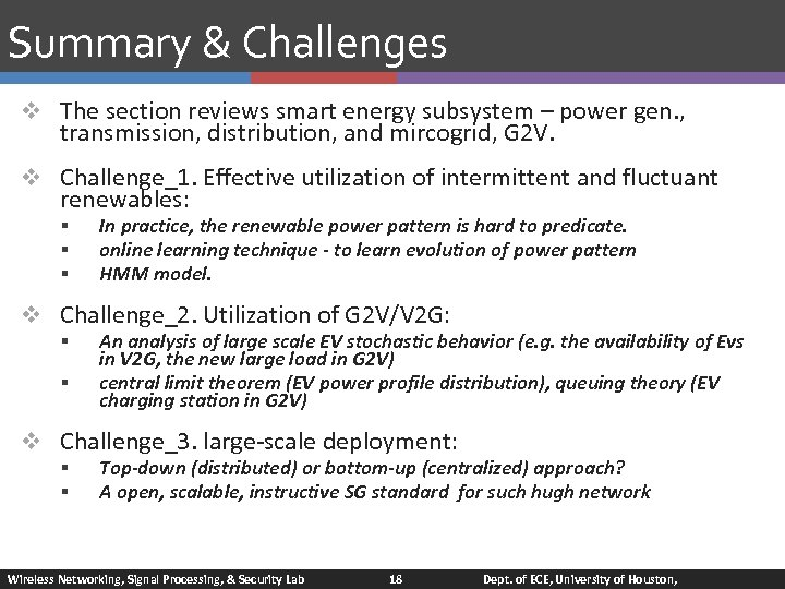 Summary & Challenges v The section reviews smart energy subsystem – power gen. ,