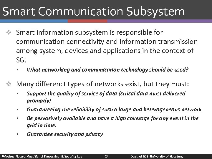 Smart Communication Subsystem v Smart information subsystem is responsible for communication connectivity and information