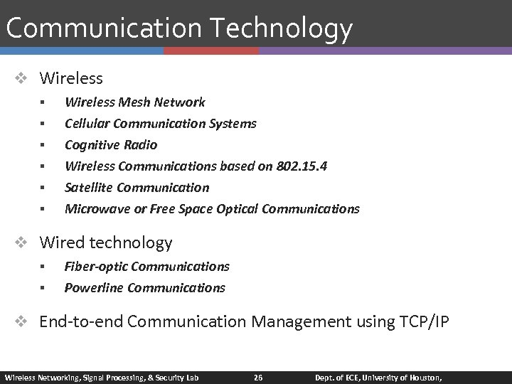 Communication Technology v Wireless § § § Wireless Mesh Network Cellular Communication Systems Cognitive