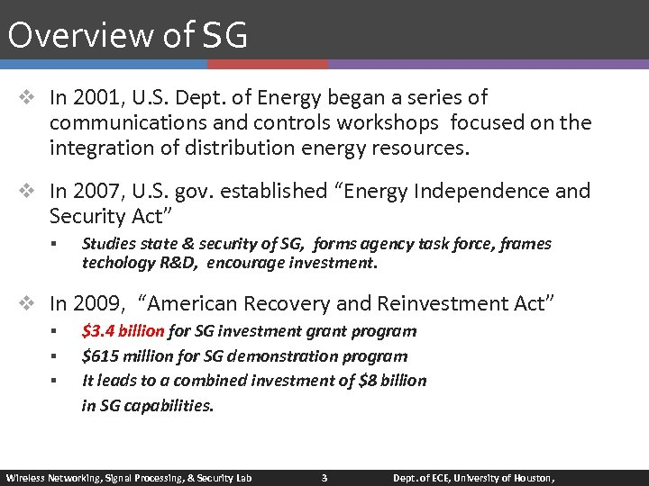 Overview of SG v In 2001, U. S. Dept. of Energy began a series