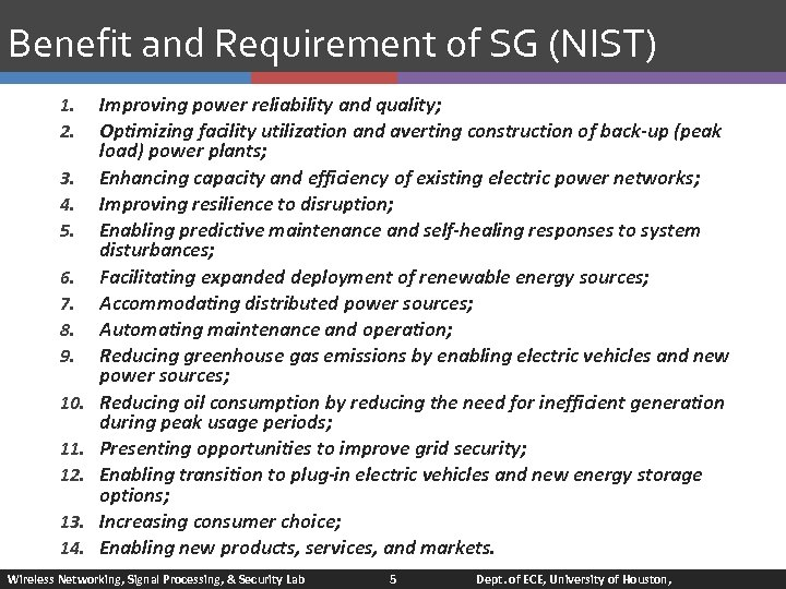 Benefit and Requirement of SG (NIST) 1. 2. 3. 4. 5. 6. 7. 8.