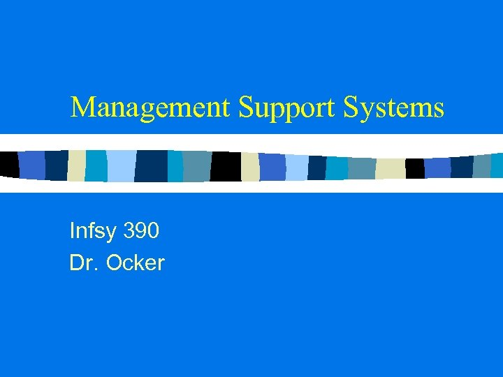 Management Support Systems Infsy 390 Dr. Ocker