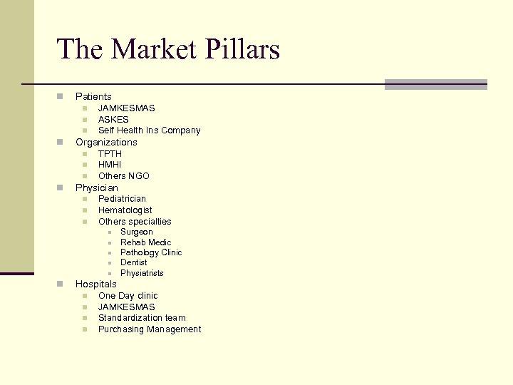 The Market Pillars n Patients n n Organizations n n JAMKESMAS ASKES Self Health